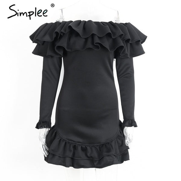Off Shoulder Long Sleeve Ruffles Vintage Autumn Winter Short Bodycon