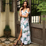 Backless Tie Up Ruffles Print Long Summer Dress