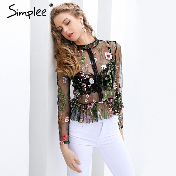 Black Flower Embroidery Tops