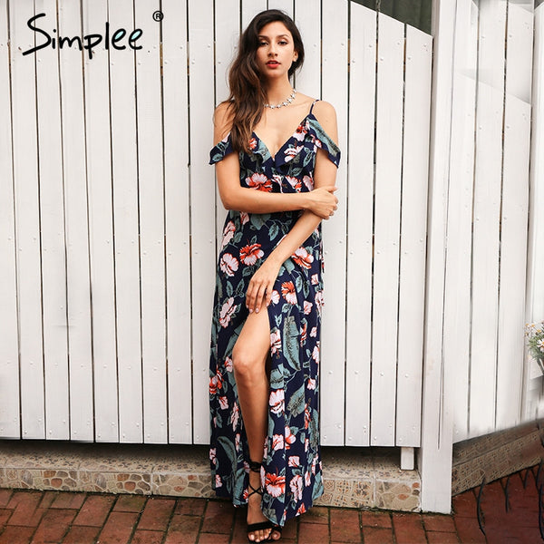 Cold Shoulder Ruffles Print Chiffon Long Dress Strap V Neck Split Backless Dress Summer