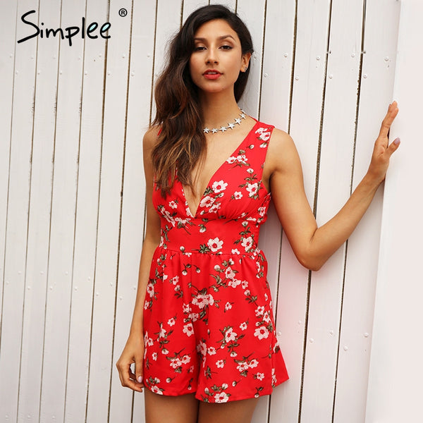 Floral Print Red Jumpsuit Romper Playsuits Chiffon Leotard Boho Summer