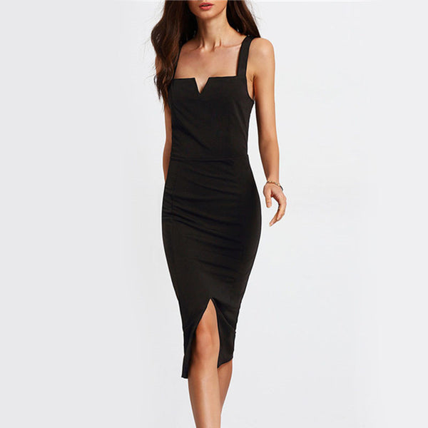 ‰ªÁ Black Square Neck Sleeveless Split Elegant  Dress ‰ªÁ