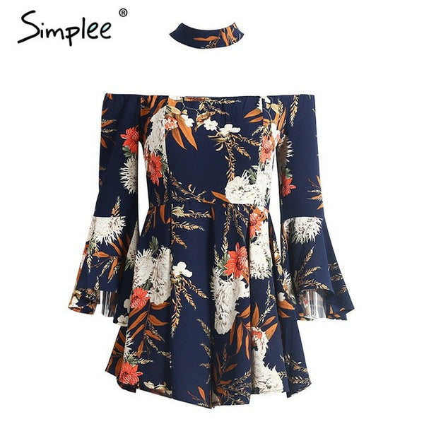 Halter Flare Sleeve Jumpsuit Romper Off Shoulder Floral Print Playsuit Summer