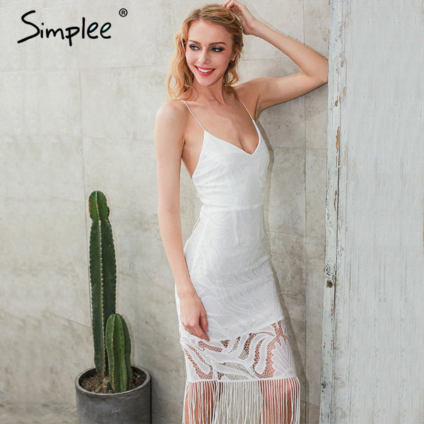 Backless V Neck Beach Zipper White Lace Dress New Year Hollow Out Party Dresses
