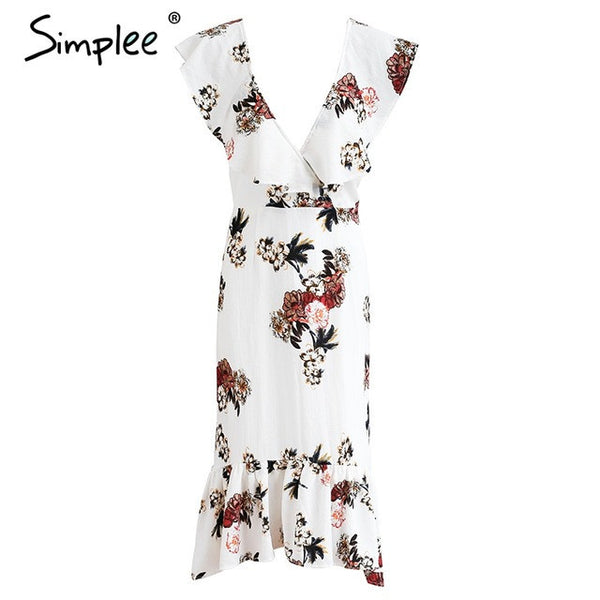 Floral Print Ruffles V Neck Summer Long Dress Backless Tie Up Mermaid Dress