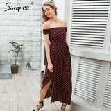 Side Split Off Shoulder Print Long  Wine Red High Waist Pleated Maxi Chic Split Boho