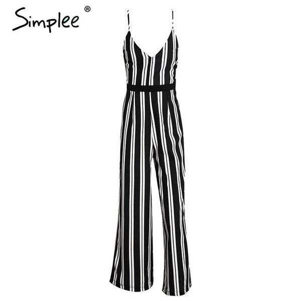 Deep V Backless Jumpsuit Romper Bodysuit Black Stripe Chiffon Bodysuit Summer