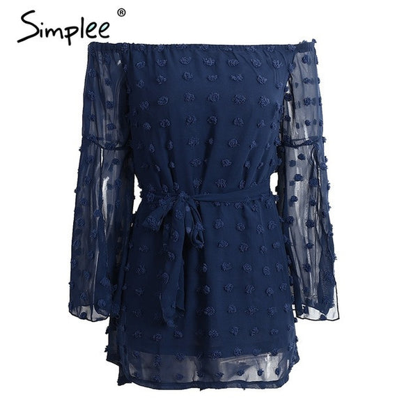 Simplee Sexy split sleeve summer dress Off shoulder soft chiffon elegant short dress Casual belt bow long sleeve dress vestidos