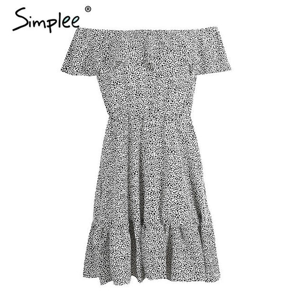 Simplee Sexy off shoulder ruffle dot summer dress Women casual beach chiffon short dress robe Elegant party mini dress vestidos
