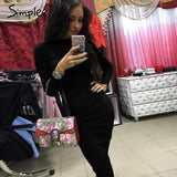 Knitted Long Sleeve Bodycon Vintage Elegant Sweater Black Dress
