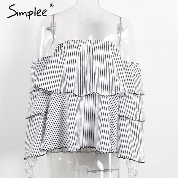 Off Shoulder Causal Ruffle Elegant Stripe