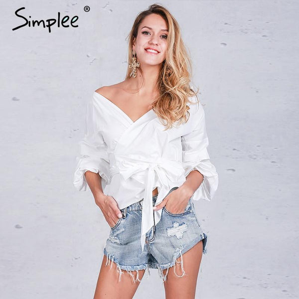 Off Shoulder V Neck Casual White Top