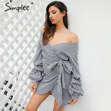 Off shoulder plaid wrap sexy dress Elegant long lantern sleeve bow belt short dress Stripe party summer dress vestidos