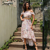 Boho Butterfly Sleeve Print Dress Summer off shoulder two-piece suit long Dress