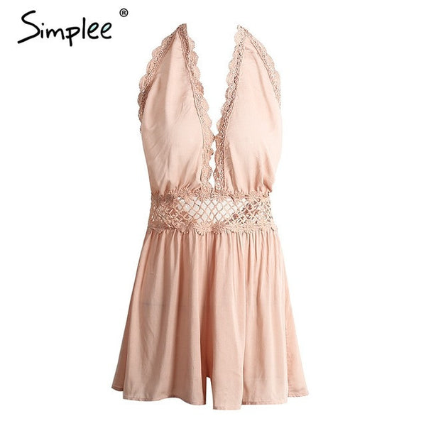 Hollow Out Embroidery Jumpsuit Romper Backless V Neck Tassel Flower Short