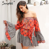 Ethnic Summer Dress Lace Up Sash Ruffle Vintage Dress Off Shoulder Patchwork