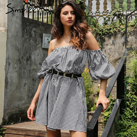 Off Shoulder Plaid Lantern Sleeve Loose Summer Dress