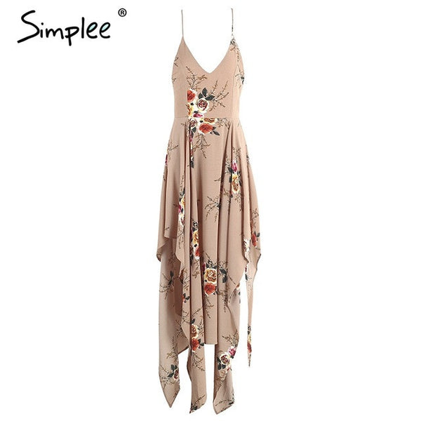 Boho Flower Elegant Print Irregular Dress Deep V Neck Backless Split Long Dress
