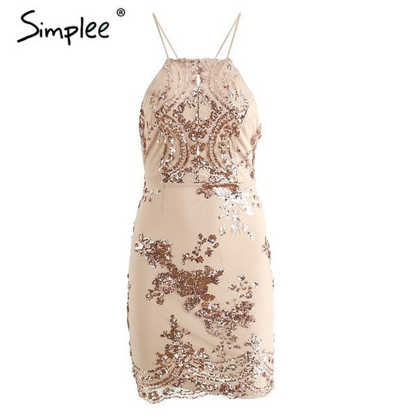 Halter Sequin Mesh Bodycon Dress Hollow Out Backless Robe Summer