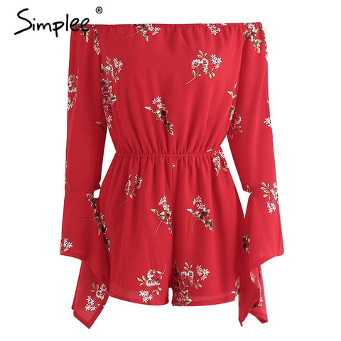 Off shoulder boho jumpsuit romper Print flower backless bodysuit summer