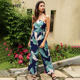 Strapless Floral Print Long Rompers Jumpsuit Backless Summer