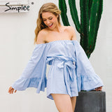 Sexy Off Shoulder Flare Sleeve Bow Ruffle Jumpsuit Romper