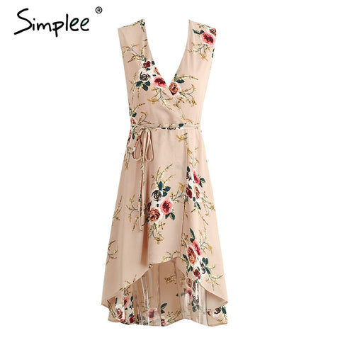 Deep V Neck Floral Print Sexy Vintage Dress