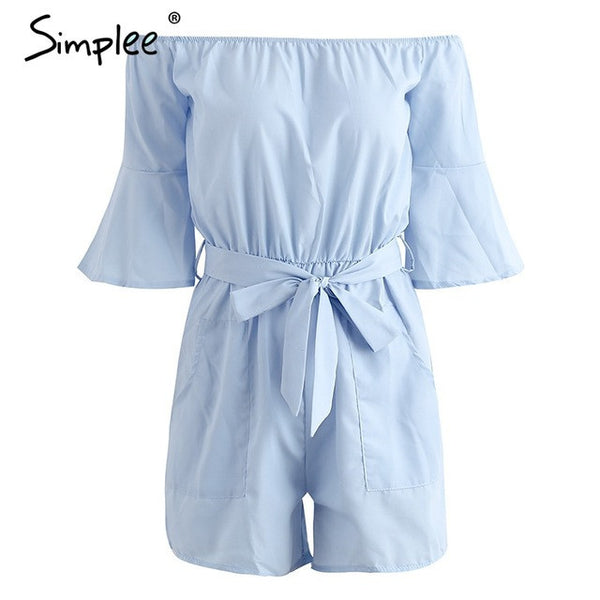 Off shoulder bow jumpsuit romper High waist Flare Sleeve Pockets Overalls Summer
