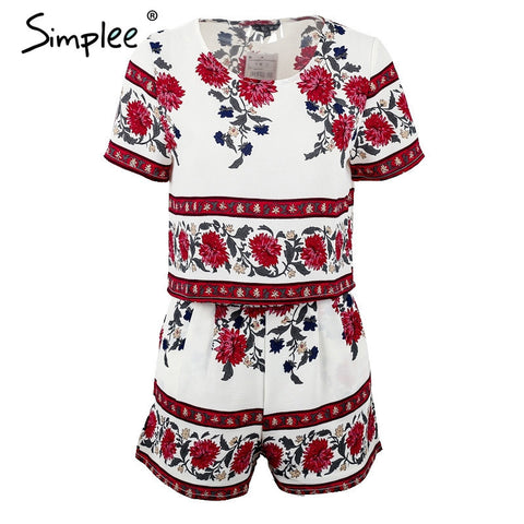 Elegant Jumpsuit Romper Two-Piece Suit Boho Chic Flower Playsuit Summer