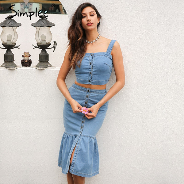 Summer Denim Suit Strap Button Crop Top Mermaid Casual Streatwear Two-Piece Set