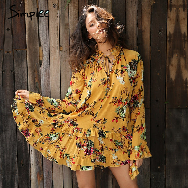 Vintage Boho Print Beach Summer Ruffle Long Sleeve Short Flower Lace Up Dress