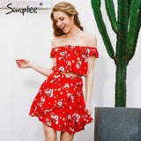 Off Shoulder Two-Piece Red Chiffon Vintage Party Ruffles Summer Dress
