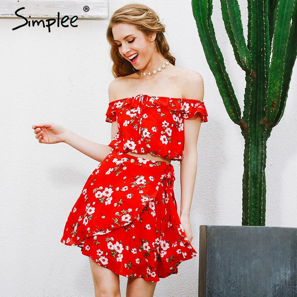 Off Shoulder Two-Piece Red Chiffon Vintage Party Ruffles Short Dress Beach Summer