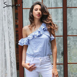 One Shoulder Ruffles Striped Tops