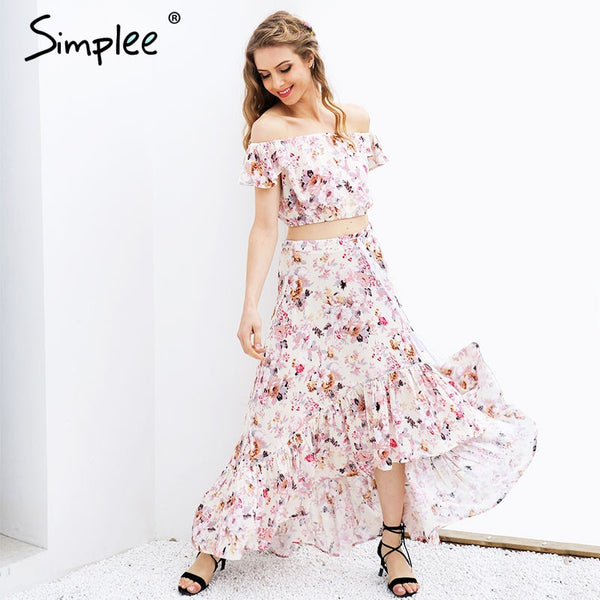 Off Shoulder Print Suit Ruffle Crop Top Asymmetrical Long Dress Two-Piece Summer