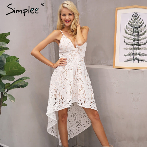 Backless V Neck Lace Dress Casual Straps High Waist Irregular Dress Summer