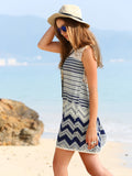 ‰ªÁ Boho Striped Multicolor Sleeveless Print Lace Dress ‰ªÁ