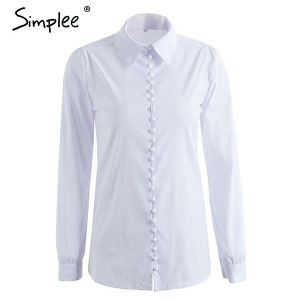 White Elegant Blouse Casual Shirt Top