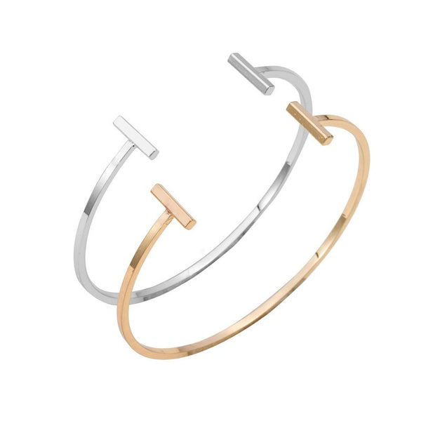 Trendy Open Double Bar Bracelet Bangles