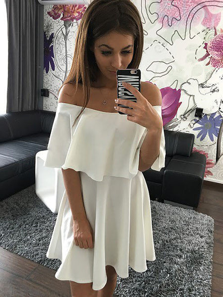 ‰÷  White Strapless Casual Sweet & Cute Off Shoulder Mini Dress ‰÷