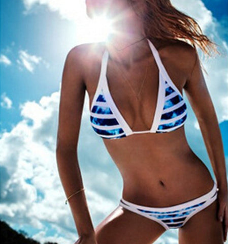 2016 Summer Sexy Halter Swimwear Women Bandage Bikini Set - Crystalline