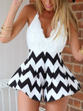 White and Black Lace Romper