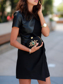 Sexy Black Leather Dress with Pockets
