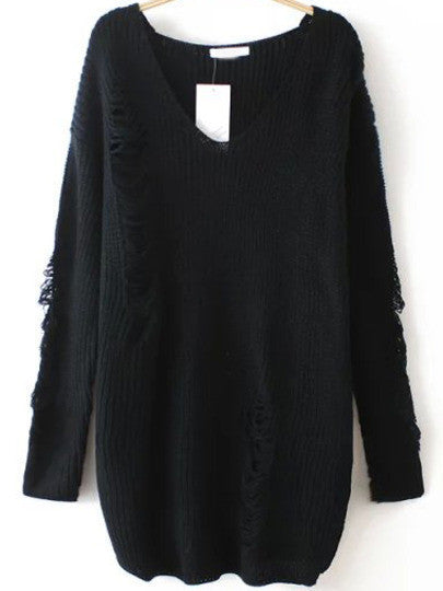 Ripped Sweater with V Neck in Black Trendy Sweater