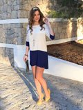 White Apricot Navy Color Block Dress
