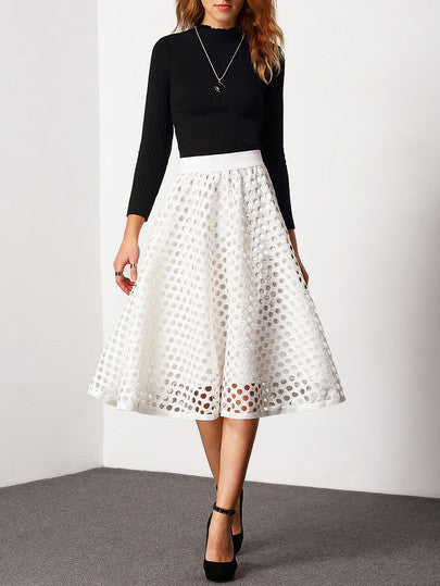 White High Waist Eyelet Trendy Skirt