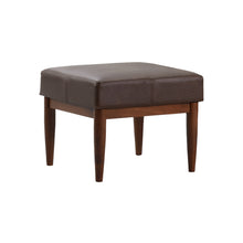 Bergen Faux Leather Ottoman Dark Brown