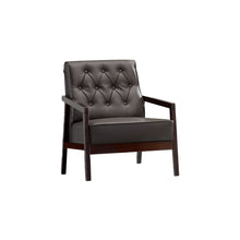 Copenhagen Contemporary Faux Leather Brown Accent Armchair