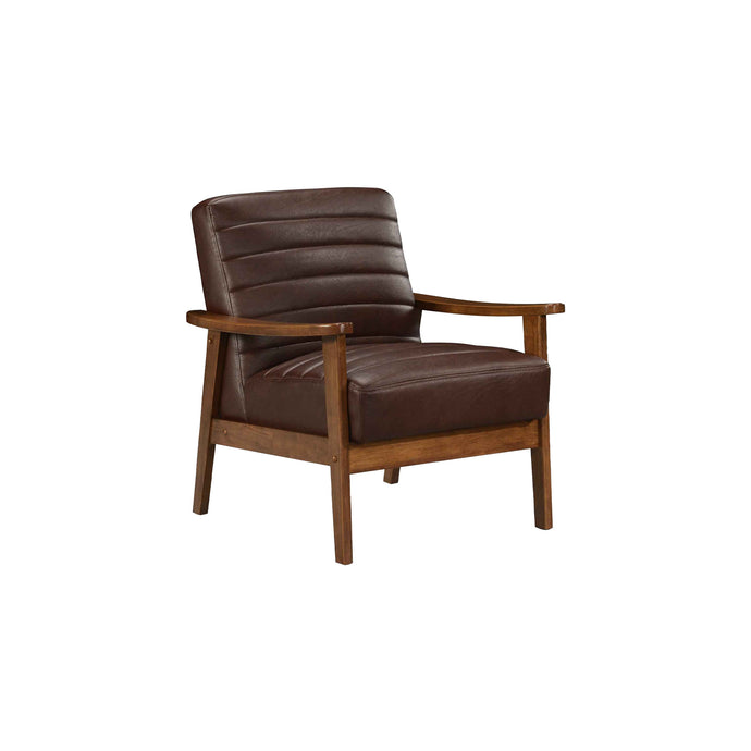 Tristan MidCentury Modern Faux Leather Accent Chair