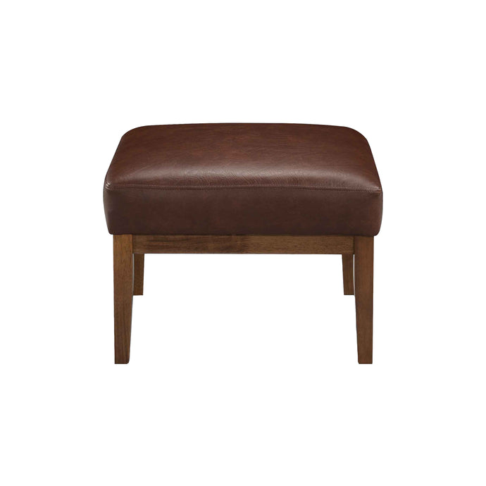 Tristan MidCentury Modern Faux Leather Ottoman